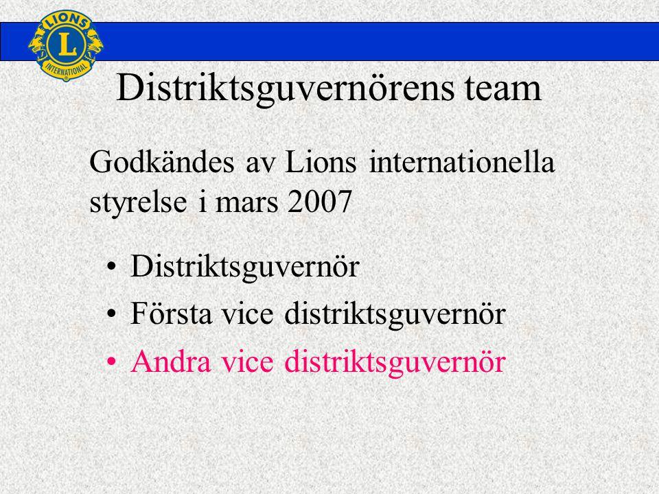 Distriktsguvernörens team •Distriktsguvernör •Första vice distriktsguvernör •Andra vice distriktsguvernör Godkändes av Lions internationella styrelse i mars 2007