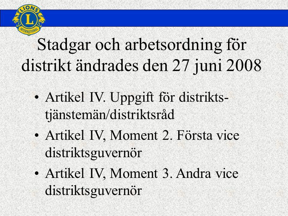 Stadgar och arbetsordning för distrikt ändrades den 27 juni 2008 •Artikel IV.