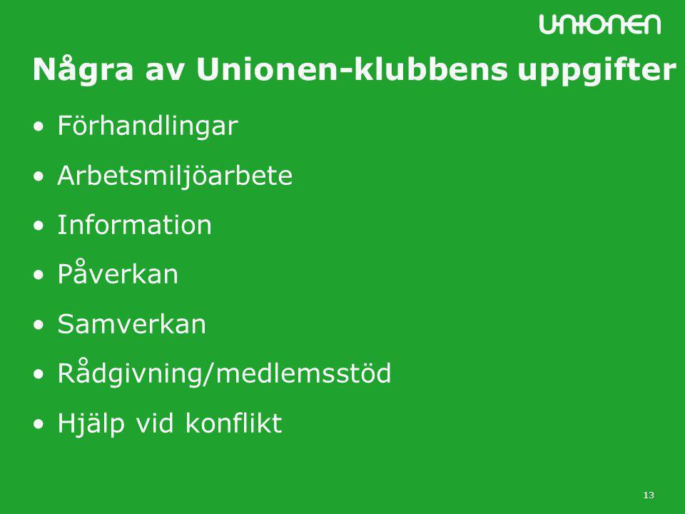 13 Några av Unionen-klubbens uppgifter •Förhandlingar •Arbetsmiljöarbete •Information •Påverkan •Samverkan •Rådgivning/medlemsstöd •Hjälp vid konflikt
