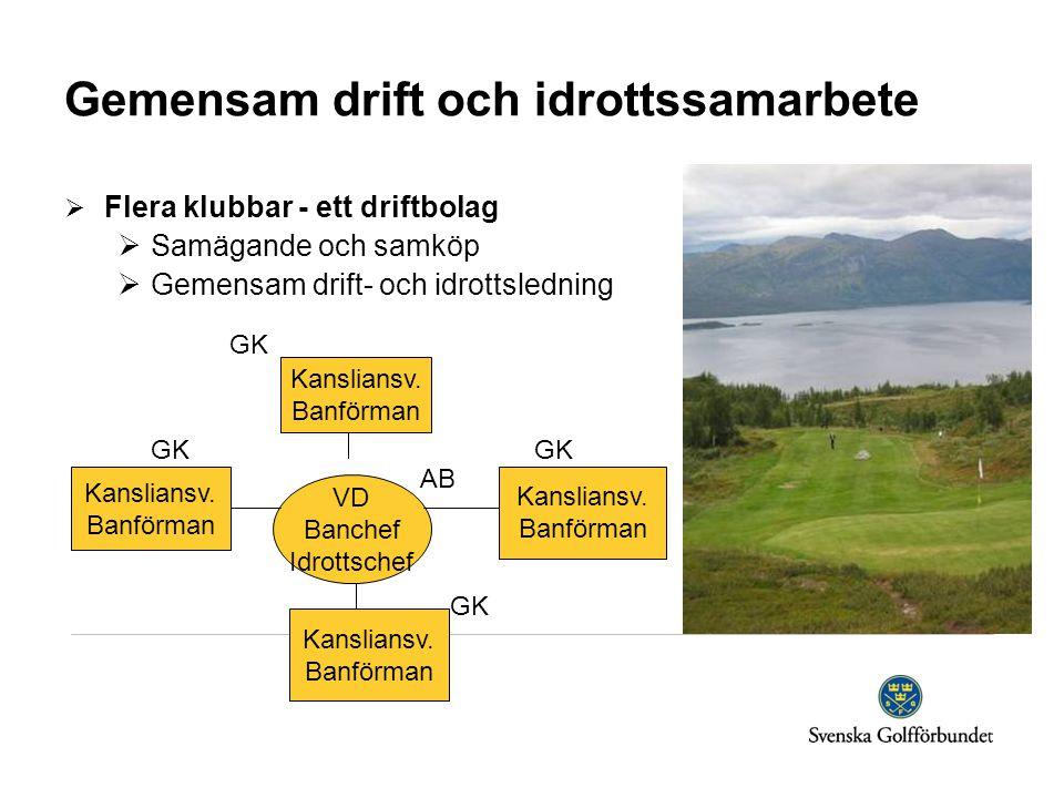 Gemensam drift och idrottssamarbete  Flera klubbar - ett driftbolag  Samägande och samköp  Gemensam drift- och idrottsledning GK GK GK AB GK Kansliansv.