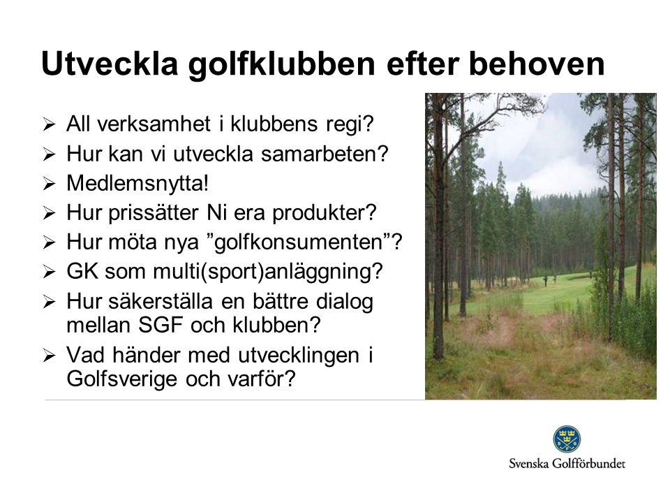 Utveckla golfklubben efter behoven  All verksamhet i klubbens regi.