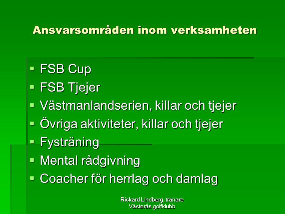 Rickard Lindberg, tränare Västerås golfklubb Ansvarsområden inom verksamheten  FSB Cup  FSB Tjejer  Västmanlandserien, killar och tjejer  Övriga aktiviteter, killar och tjejer  Fysträning  Mental rådgivning  Coacher för herrlag och damlag