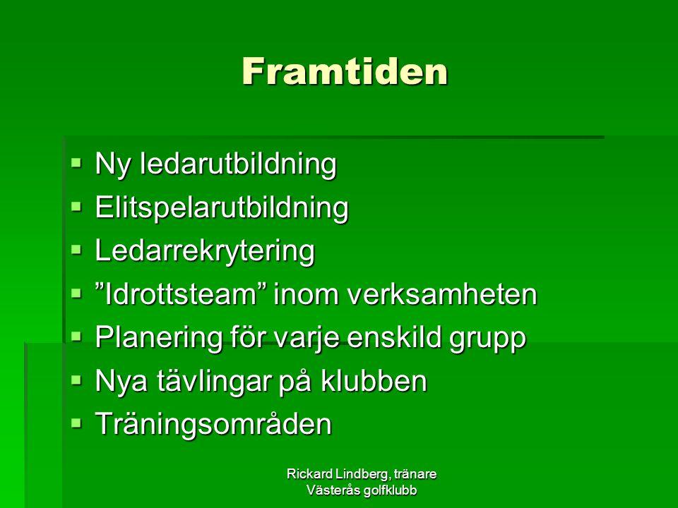"""Rickard Lindberg, tränare Västerås golfklubb Framtiden  Ny ledarutbildning  Elitspelarutbildning  Ledarrekrytering  """"Idrottsteam"""" inom verksamhete"""