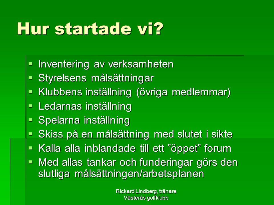 Rickard Lindberg, tränare Västerås golfklubb Hur startade vi?  Inventering av verksamheten  Styrelsens målsättningar  Klubbens inställning (övriga