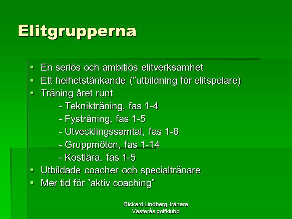 """Rickard Lindberg, tränare Västerås golfklubb Elitgrupperna  En seriös och ambitiös elitverksamhet  Ett helhetstänkande (""""utbildning för elitspelare)"""