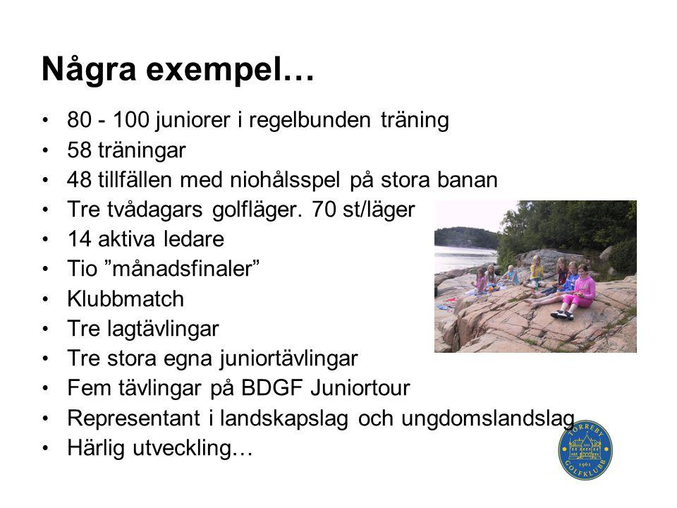Några exempel… • 80 - 100 juniorer i regelbunden träning • 58 träningar • 48 tillfällen med niohålsspel på stora banan • Tre tvådagars golfläger.