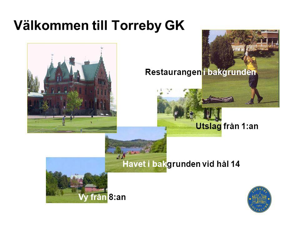 Välkommen till Torreby GK Restaurangen i bakgrunden Utslag från 1:an Havet i bakgrunden vid hål 14 Vy från 8:an