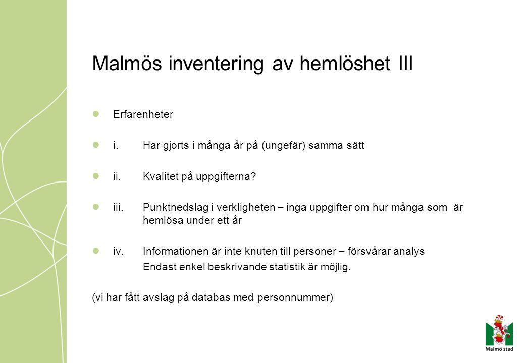Malmös inventering av hemlöshet III  Erfarenheter  i.Har gjorts i många år på (ungefär) samma sätt  ii.Kvalitet på uppgifterna?  iii.Punktnedslag