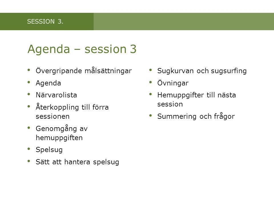 SESSION 3. Agenda – session 3 • Övergripande målsättningar • Agenda • Närvarolista • Återkoppling till förra sessionen • Genomgång av hemuppgiften • S