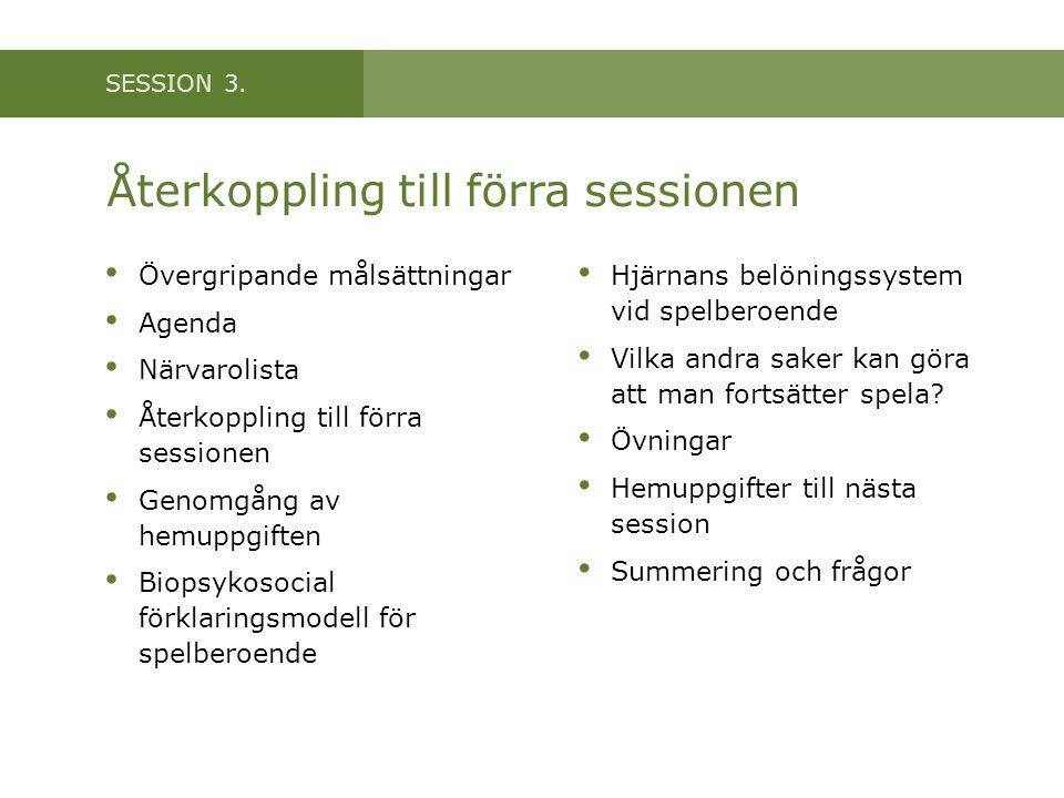 SESSION 3. Återkoppling till förra sessionen • Övergripande målsättningar • Agenda • Närvarolista • Återkoppling till förra sessionen • Genomgång av h