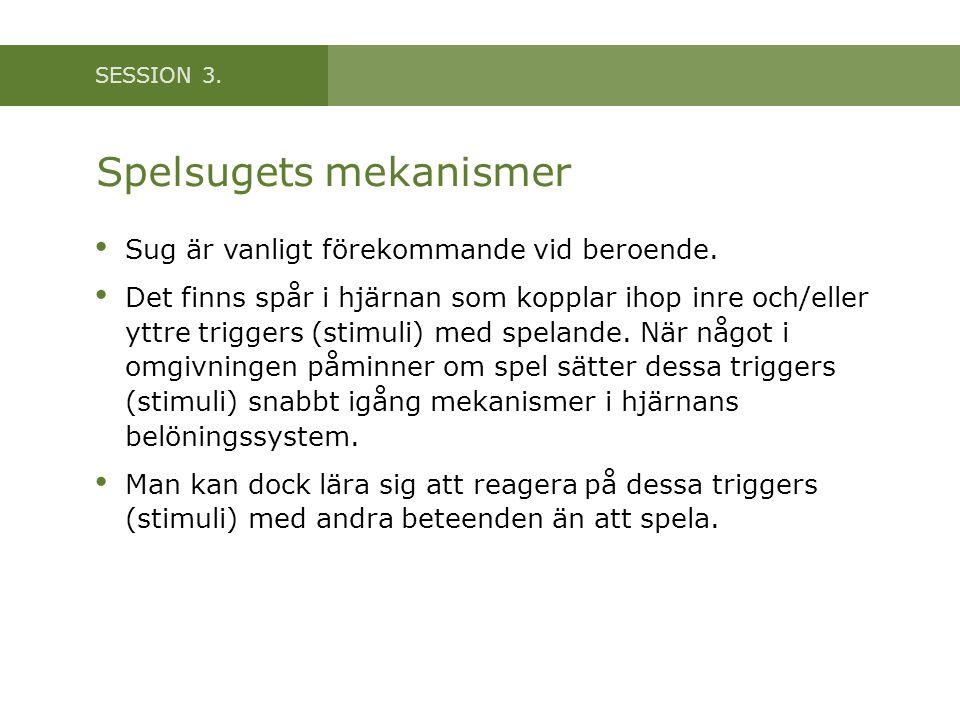 SESSION 3. Spelsugets mekanismer • Sug är vanligt förekommande vid beroende. • Det finns spår i hjärnan som kopplar ihop inre och/eller yttre triggers