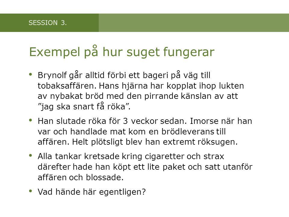 SESSION 3. Exempel på hur suget fungerar • Brynolf går alltid förbi ett bageri på väg till tobaksaffären. Hans hjärna har kopplat ihop lukten av nybak