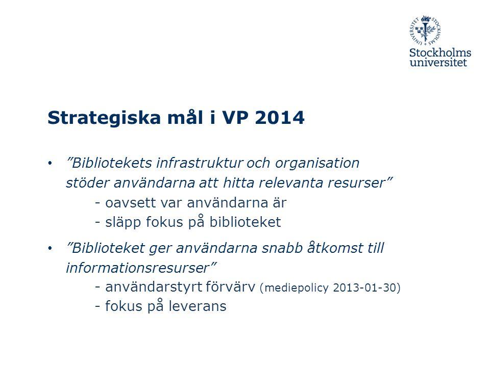 Strategiska mål i VP 2014 • Bibliotekets infrastruktur och organisation stöder användarna att hitta relevanta resurser • Biblioteket ger användarna snabb åtkomst till informationsresurser - oavsett var användarna är - släpp fokus på biblioteket - användarstyrt förvärv (mediepolicy 2013-01-30) - fokus på leverans