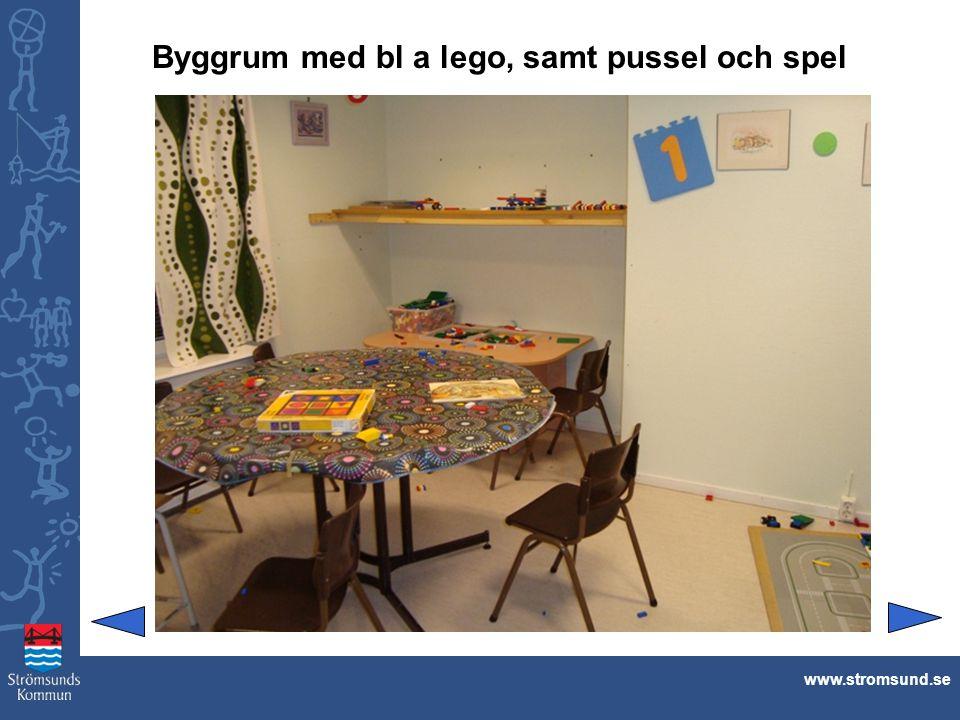 Byggrum med bl a lego, samt pussel och spel www.stromsund.se