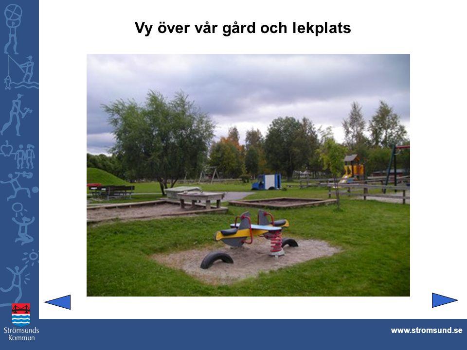 Lillfjöse och trädgårdslandet.www.stromsund.se Man kan balansera och hoppa på stubbarna.