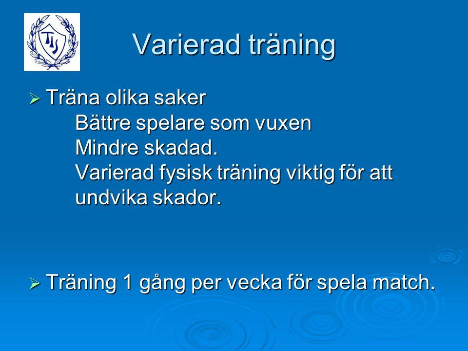 Varierad träning  Träna olika saker Bättre spelare som vuxen Mindre skadad. Varierad fysisk träning viktig för att undvika skador.  Träning 1 gång p