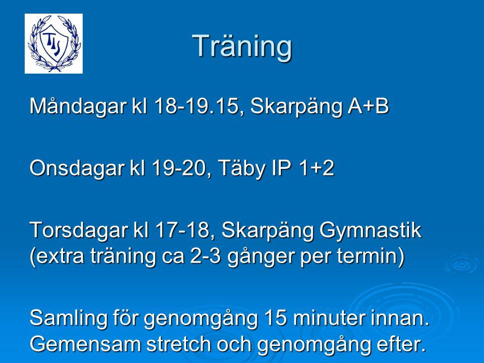 Träning Måndagar kl 18-19.15, Skarpäng A+B Onsdagar kl 19-20, Täby IP 1+2 Torsdagar kl 17-18, Skarpäng Gymnastik (extra träning ca 2-3 gånger per term