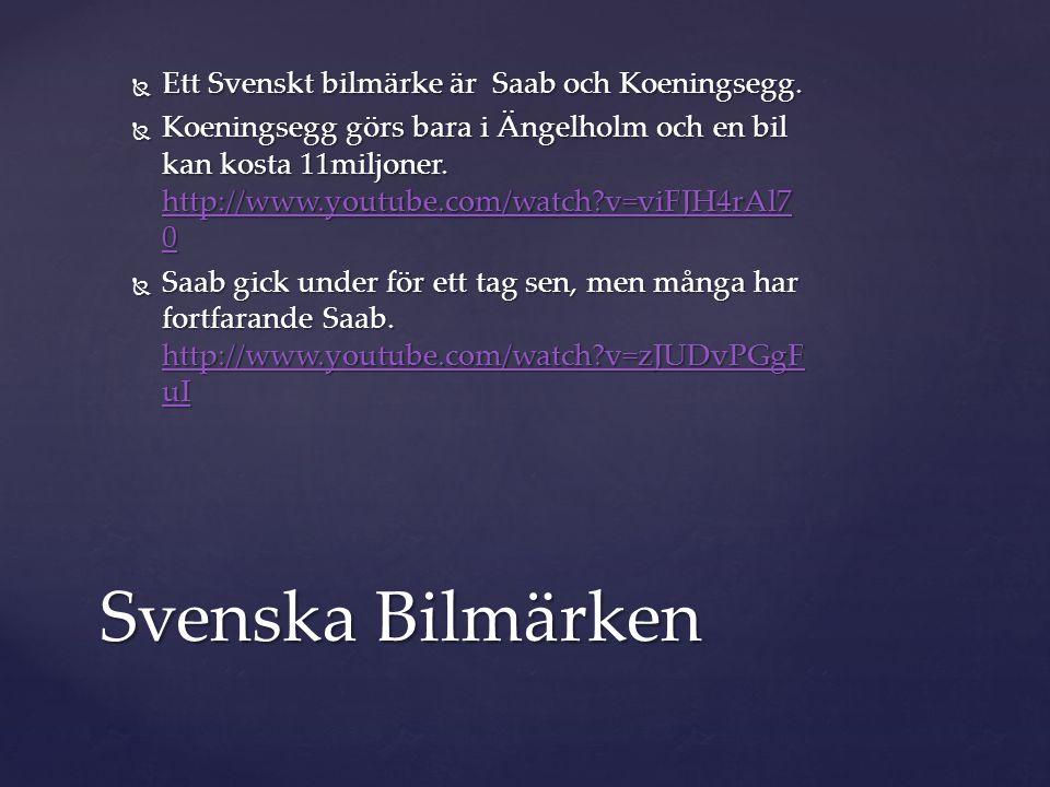  Ett Svenskt bilmärke är Saab och Koeningsegg.