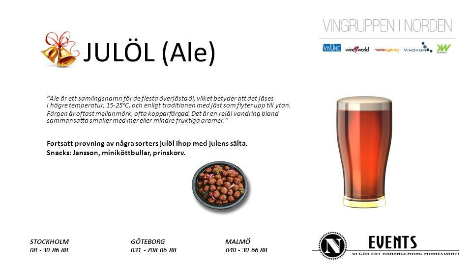 JULÖL (Ale) Ale är ett samlingsnamn för de flesta överjästa öl, vilket betyder att det jäses i högre temperatur, 15-25°C, och enligt traditionen med jäst som flyter upp till ytan.