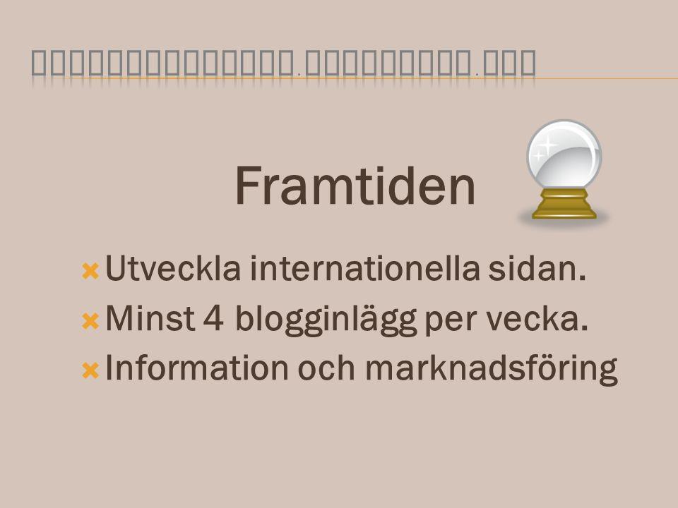 Framtiden  Utveckla internationella sidan.  Minst 4 blogginlägg per vecka.  Information och marknadsföring