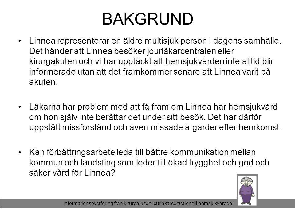 BAKGRUND •Linnea representerar en äldre multisjuk person i dagens samhälle. Det händer att Linnea besöker jourläkarcentralen eller kirurgakuten och vi
