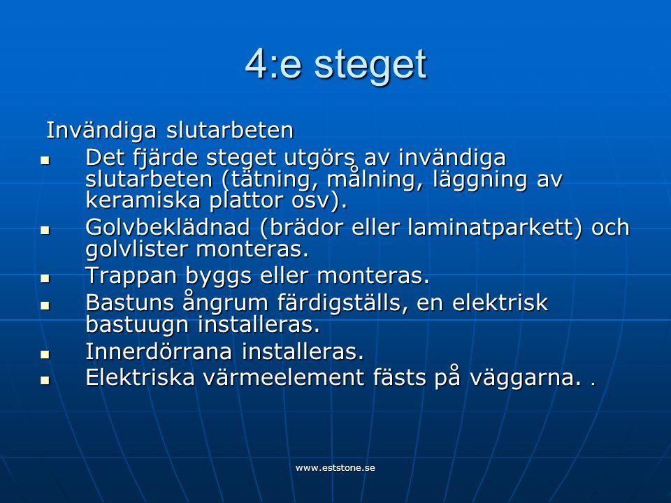 www.eststone.se 4:e steget Invändiga slutarbeten Invändiga slutarbeten  Det fjärde steget utgörs av invändiga slutarbeten (tätning, målning, läggning av keramiska plattor osv).