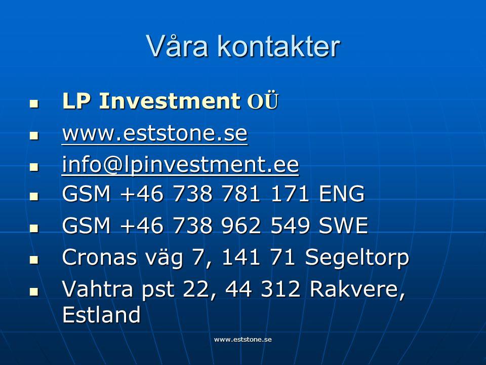 www.eststone.se Våra kontakter  LP Investment OÜ  www.eststone.se  info@lpinvestment.ee  GSM +46 738 781 171 ENG  GSM +46 738 962 549 SWE  Cronas väg 7, 141 71 Segeltorp  Vahtra pst 22, 44 312 Rakvere, Estland