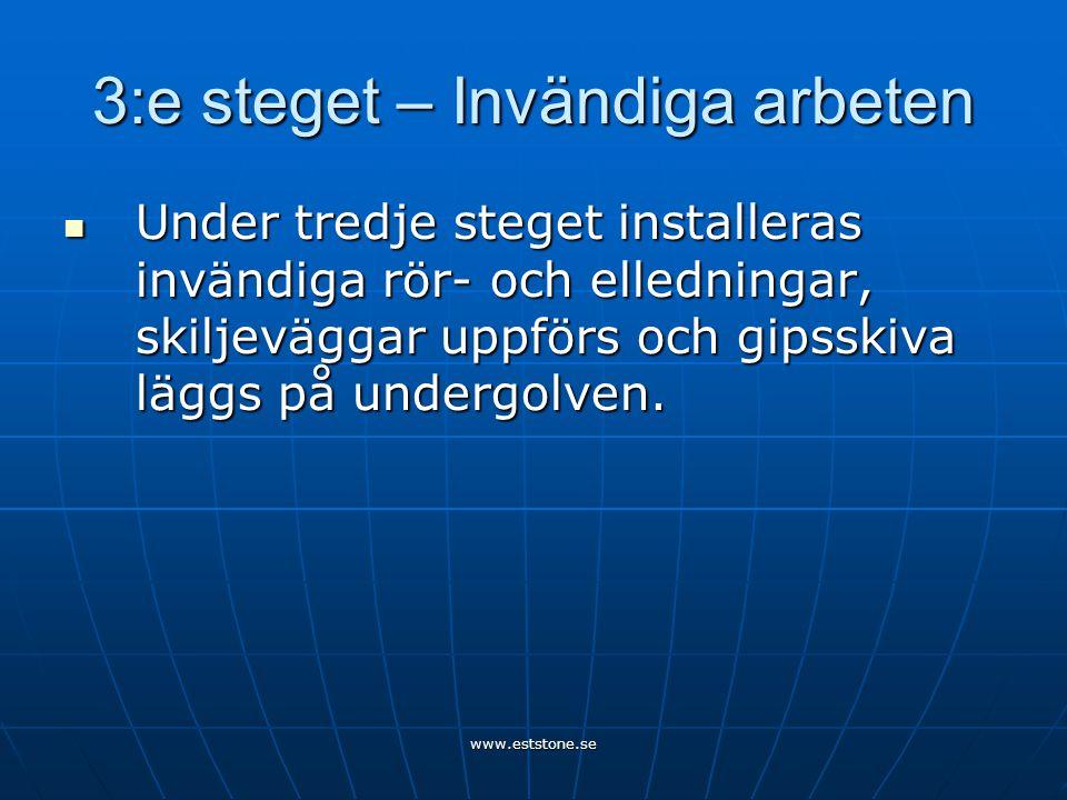 www.eststone.se 3:e steget – Invändiga arbeten  Under tredje steget installeras invändiga rör- och elledningar, skiljeväggar uppförs och gipsskiva läggs på undergolven.