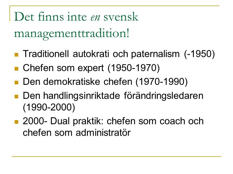 Det finns inte en svensk managementtradition!  Traditionell autokrati och paternalism (-1950)  Chefen som expert (1950-1970)  Den demokratiske chef