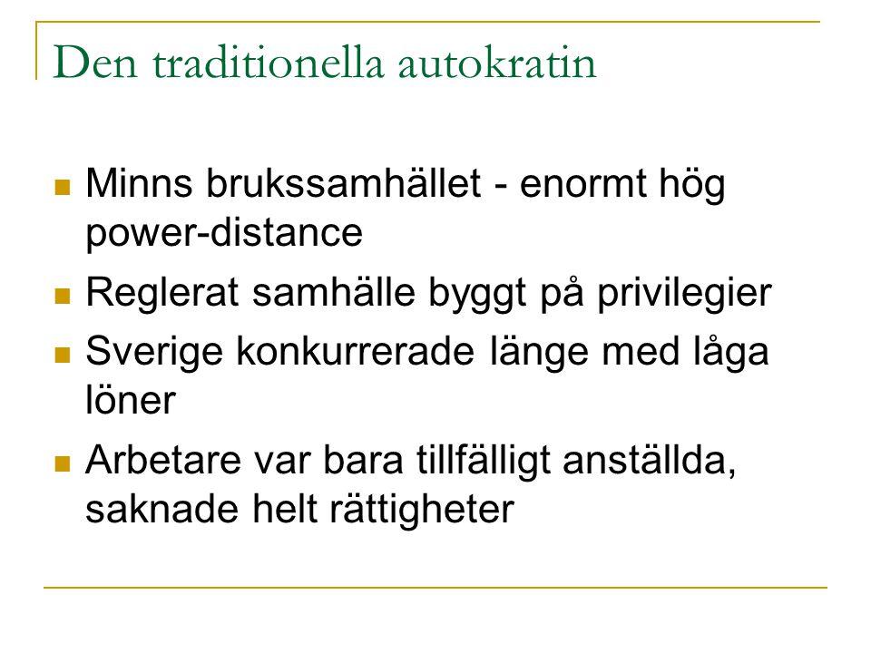 Den traditionella autokratin  Minns brukssamhället - enormt hög power-distance  Reglerat samhälle byggt på privilegier  Sverige konkurrerade länge
