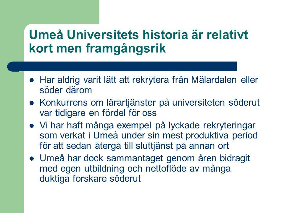 Umeå Universitets historia är relativt kort men framgångsrik  Har aldrig varit lätt att rekrytera från Mälardalen eller söder därom  Konkurrens om l