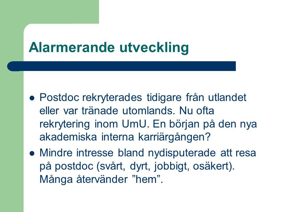 Alarmerande utveckling  Postdoc rekryterades tidigare från utlandet eller var tränade utomlands. Nu ofta rekrytering inom UmU. En början på den nya a