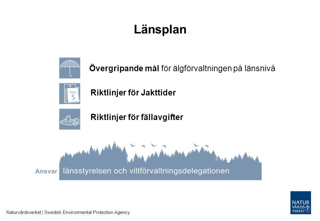 Länsplan Naturvårdsverket | Swedish Environmental Protection Agency Riktlinjer för Jakttider Riktlinjer för fällavgifter Övergripande mål för älgförva