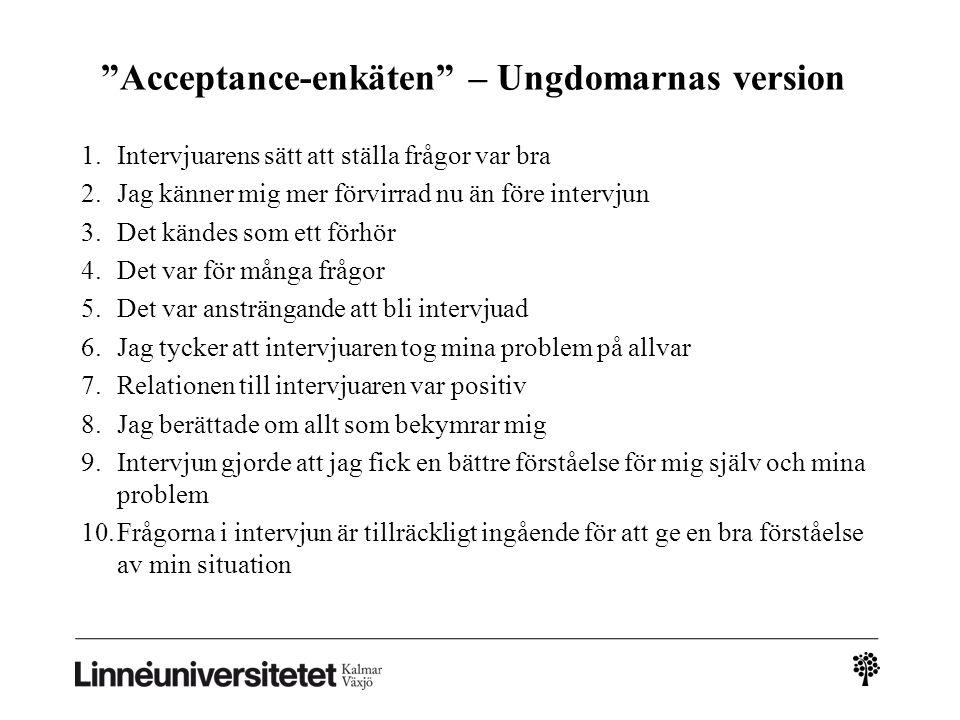 """""""Acceptance-enkäten"""" – Ungdomarnas version 1.Intervjuarens sätt att ställa frågor var bra 2.Jag känner mig mer förvirrad nu än före intervjun 3.Det kä"""