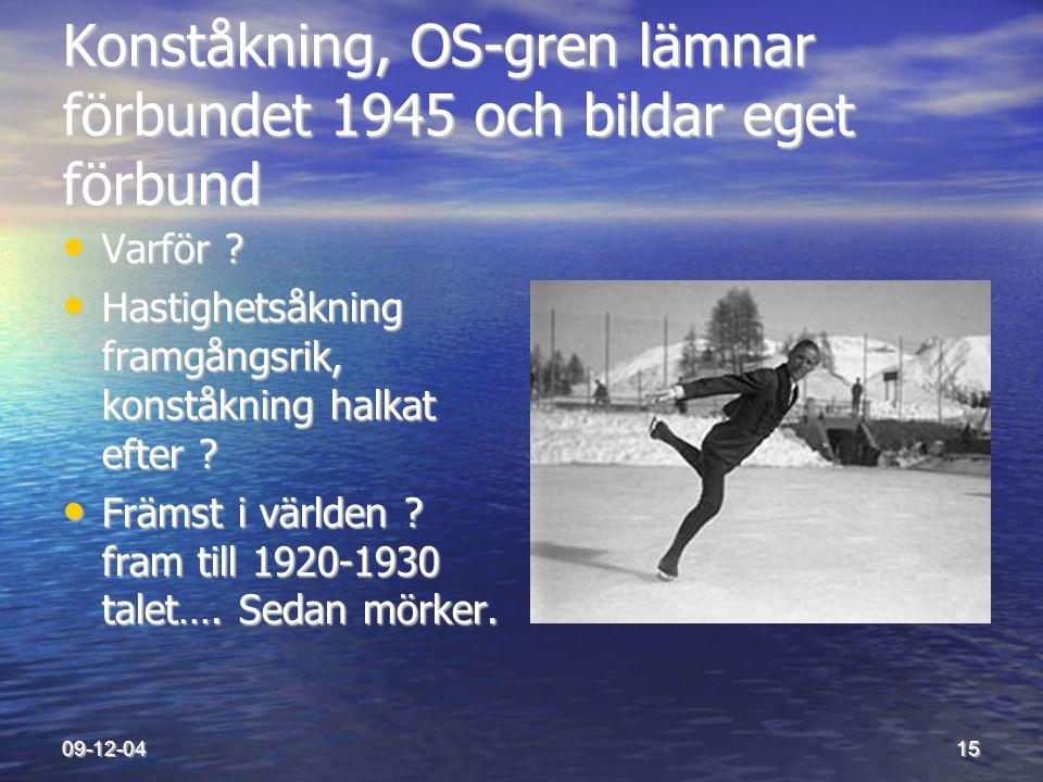 09-12-0415 Konståkning, OS-gren lämnar förbundet 1945 och bildar eget förbund • Varför ? • Hastighetsåkning framgångsrik, konståkning halkat efter ? •