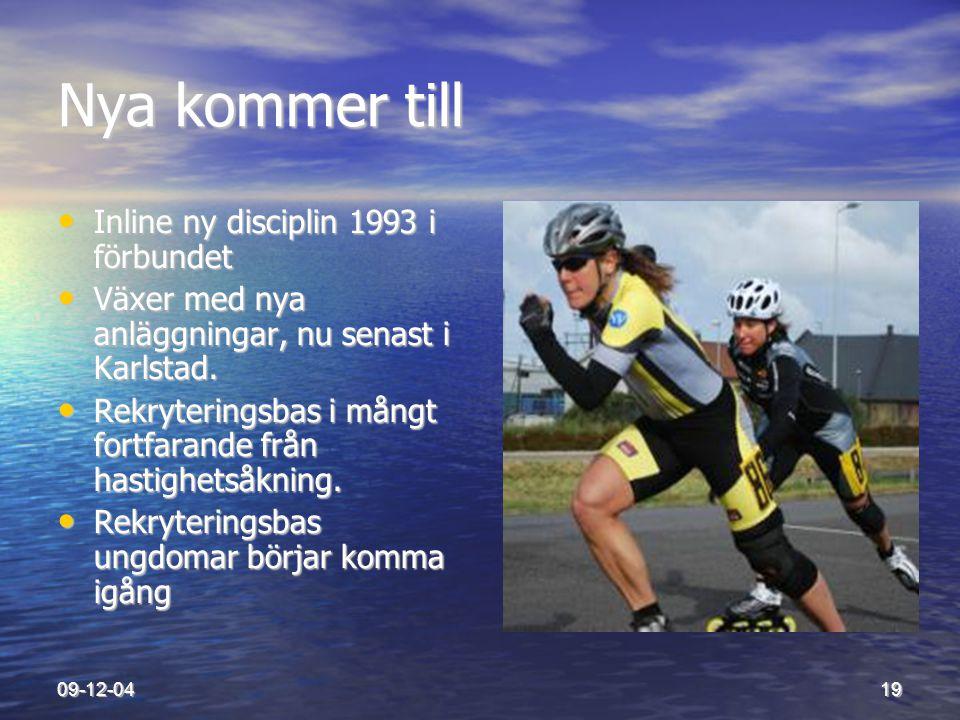 09-12-0419 Nya kommer till • Inline ny disciplin 1993 i förbundet • Växer med nya anläggningar, nu senast i Karlstad. • Rekryteringsbas i mångt fortfa