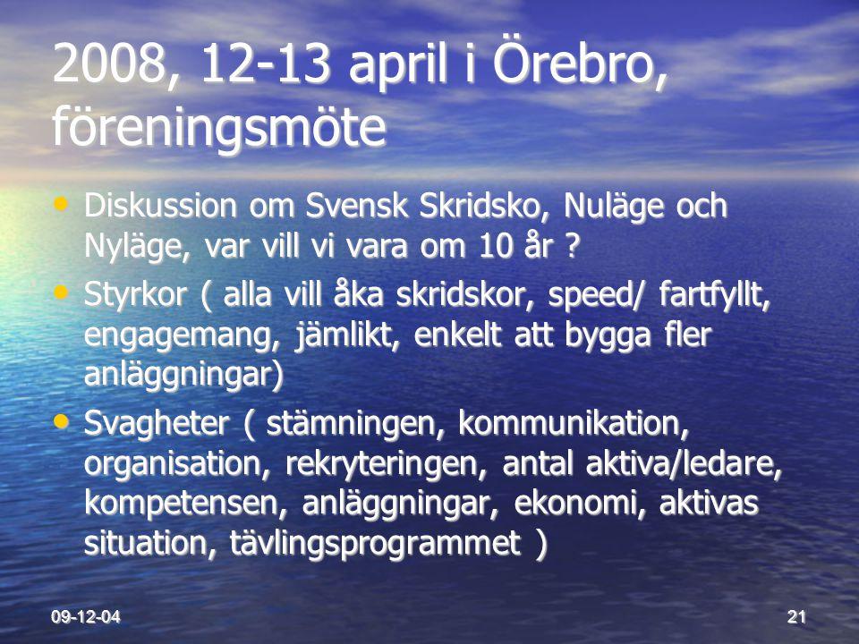 09-12-0421 2008, 12-13 april i Örebro, föreningsmöte • Diskussion om Svensk Skridsko, Nuläge och Nyläge, var vill vi vara om 10 år ? • Styrkor ( alla
