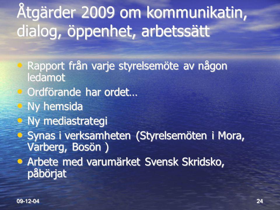 09-12-0424 Åtgärder 2009 om kommunikatin, dialog, öppenhet, arbetssätt • Rapport från varje styrelsemöte av någon ledamot • Ordförande har ordet… • Ny