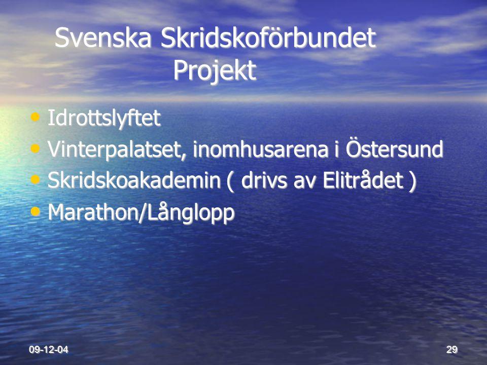 09-12-0429 Svenska Skridskoförbundet Projekt Svenska Skridskoförbundet Projekt • Idrottslyftet • Vinterpalatset, inomhusarena i Östersund • Skridskoak