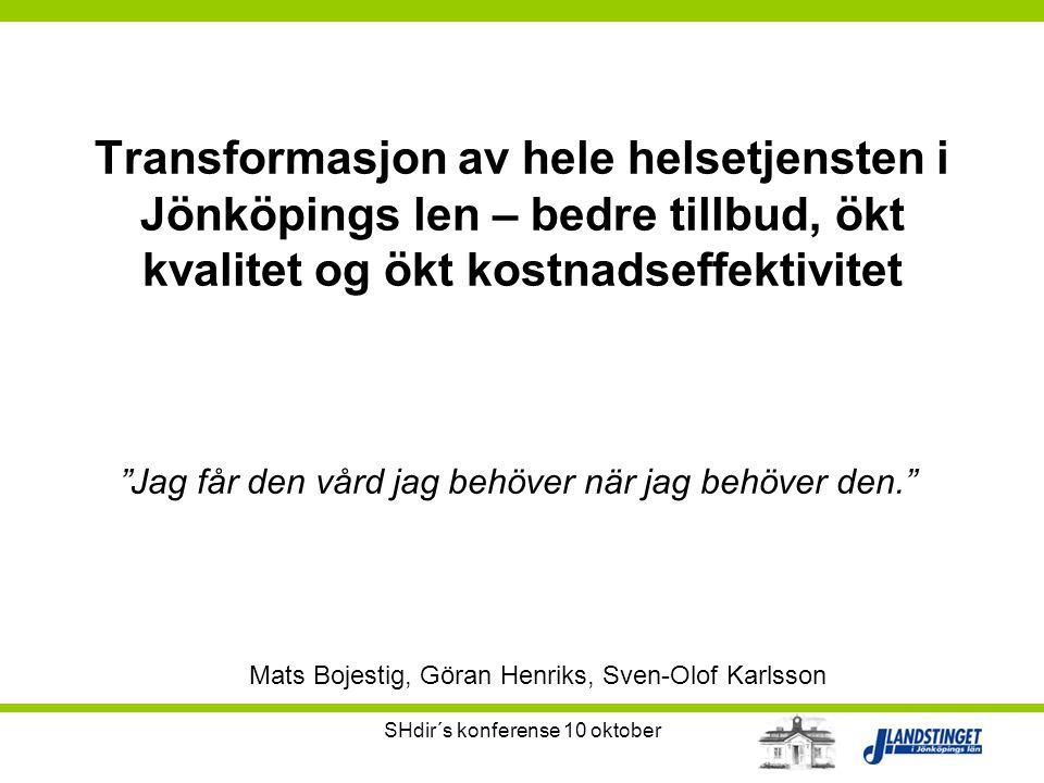 """SHdir´s konferense 10 oktober Transformasjon av hele helsetjensten i Jönköpings len – bedre tillbud, ökt kvalitet og ökt kostnadseffektivitet """"Jag får"""