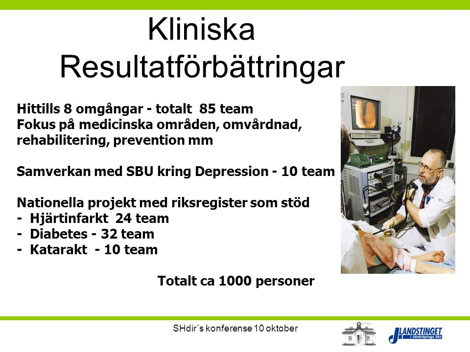 SHdir´s konferense 10 oktober Kliniska Resultatförbättringar Hittills 8 omgångar - totalt 85 team Fokus på medicinska områden, omvårdnad, rehabiliteri