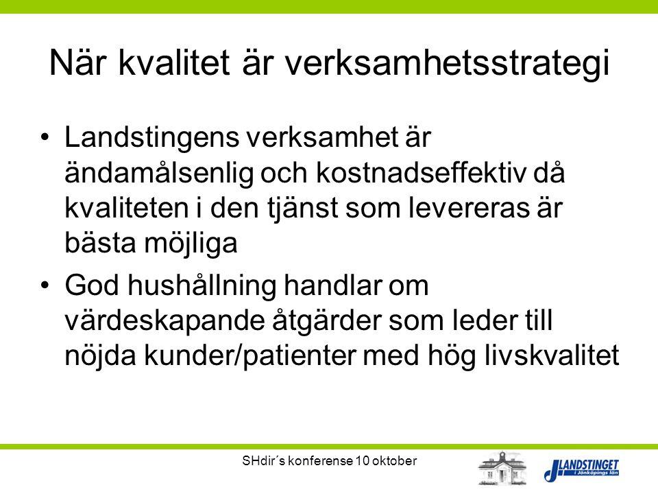 SHdir´s konferense 10 oktober När kvalitet är verksamhetsstrategi •Landstingens verksamhet är ändamålsenlig och kostnadseffektiv då kvaliteten i den t