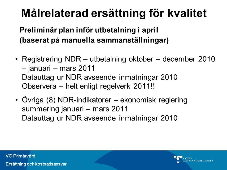 VG Primärvård Ersättning och kostnadsansvar Preliminär plan inför utbetalning i april (baserat på manuella sammanställningar) •Registrering NDR – utbe
