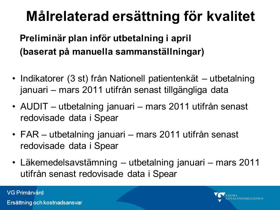 VG Primärvård Ersättning och kostnadsansvar Preliminär plan inför utbetalning i april (baserat på manuella sammanställningar) •Indikatorer (3 st) från
