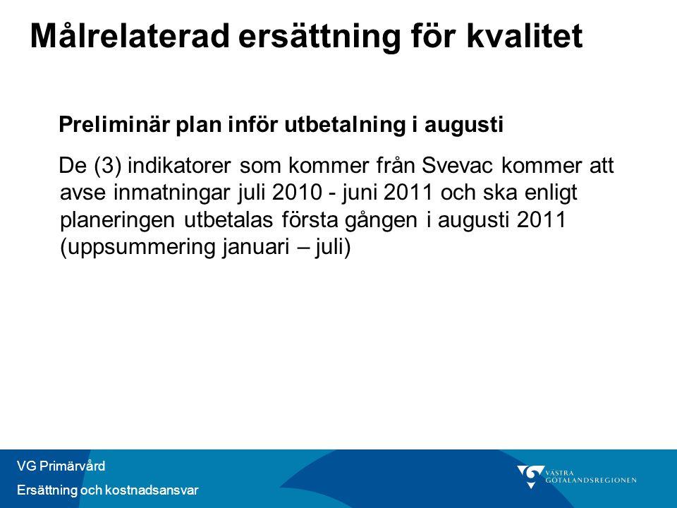 VG Primärvård Ersättning och kostnadsansvar Målrelaterad ersättning för kvalitet Preliminär plan inför utbetalning i augusti De (3) indikatorer som ko