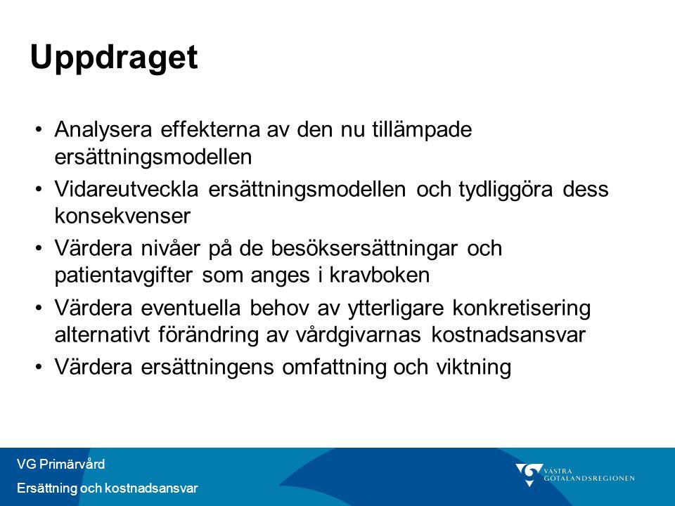 VG Primärvård Ersättning och kostnadsansvar Uppdraget •Analysera effekterna av den nu tillämpade ersättningsmodellen •Vidareutveckla ersättningsmodell