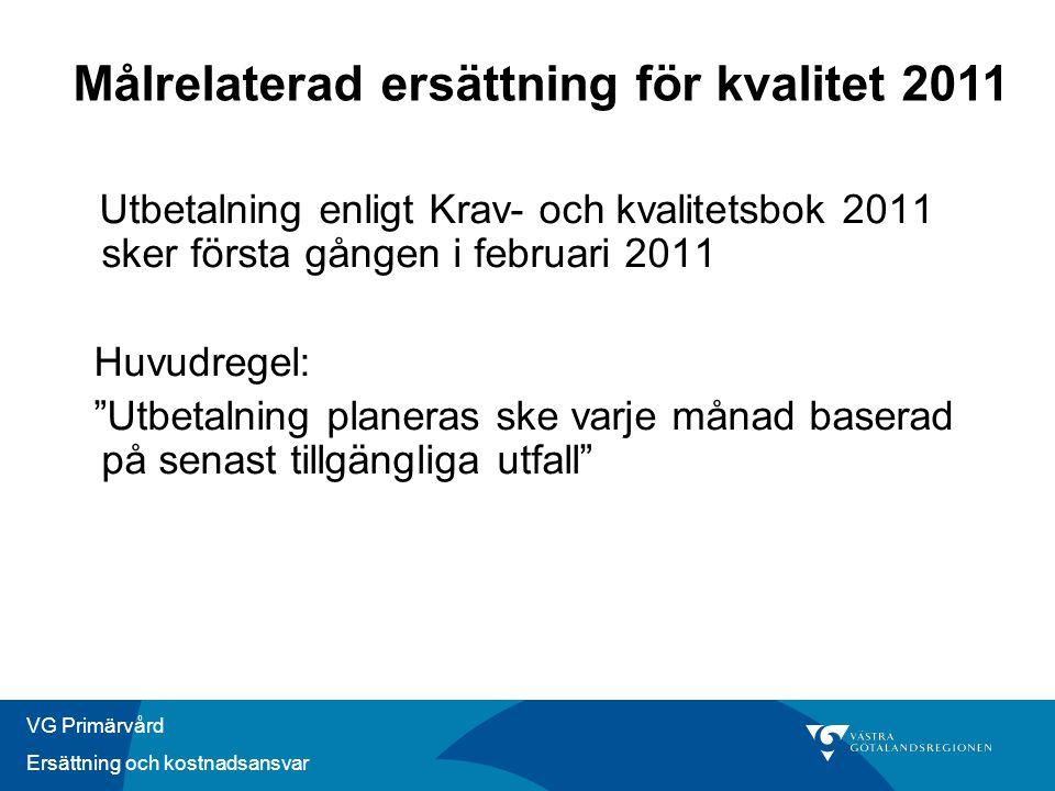 """VG Primärvård Ersättning och kostnadsansvar Utbetalning enligt Krav- och kvalitetsbok 2011 sker första gången i februari 2011 Huvudregel: """"Utbetalning"""