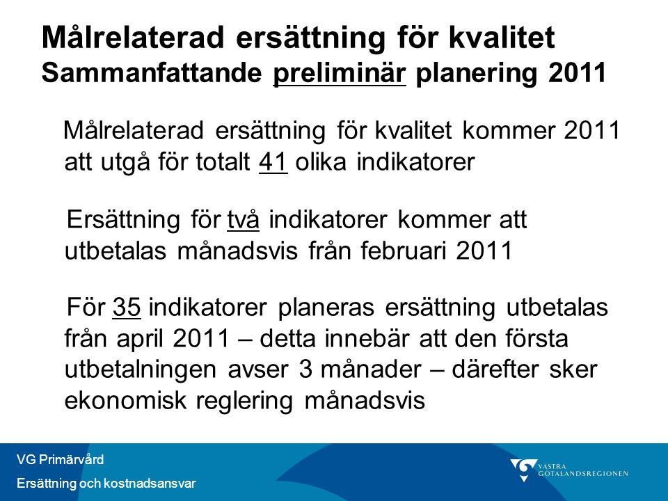 VG Primärvård Ersättning och kostnadsansvar Målrelaterad ersättning för kvalitet kommer 2011 att utgå för totalt 41 olika indikatorer Ersättning för t