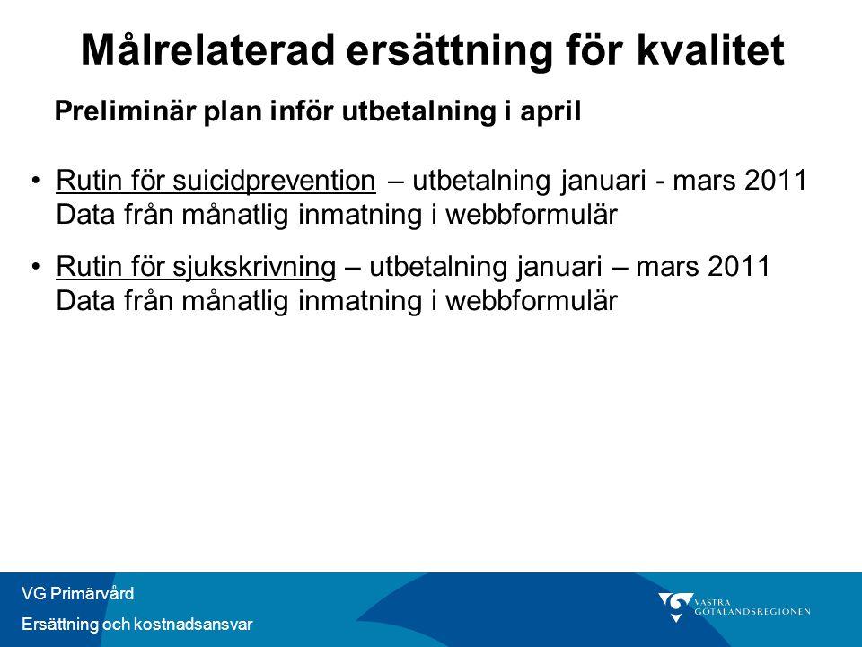 VG Primärvård Ersättning och kostnadsansvar Preliminär plan inför utbetalning i april •Rutin för suicidprevention – utbetalning januari - mars 2011 Da