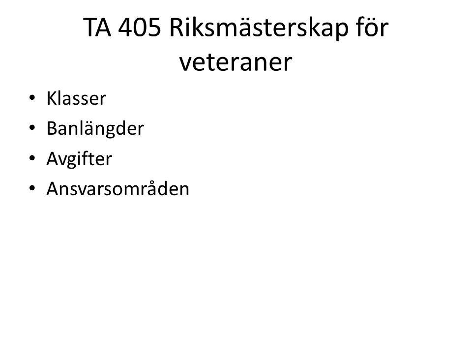 TA 405 Riksmästerskap för veteraner • Klasser • Banlängder • Avgifter • Ansvarsområden